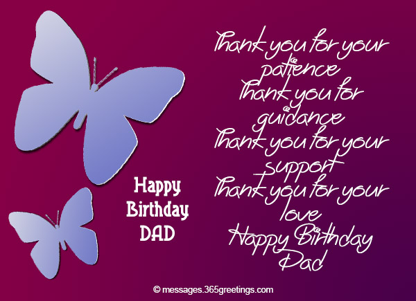 Birthday wishes for dad 365greetings thank you for your patience thank you for guidance thank you for your support thank you for your love happy birthday dad m4hsunfo
