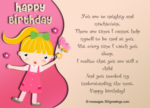 Birthday wishes for kids 365greetings you are so naughty and mischievous there are times i cannot help myself to be mad at you but every time i watch you sleep m4hsunfo