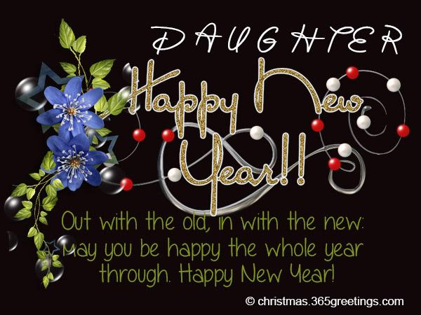 new year card messages and greetings for daughter