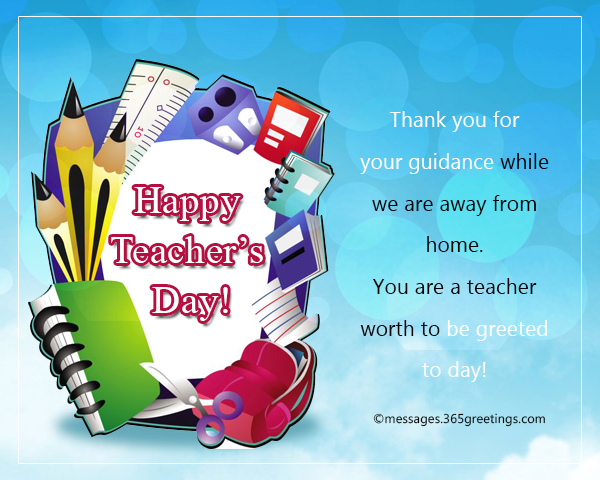 thank you for your guidance while we are away from home you are a teacher worth to be greeted to day
