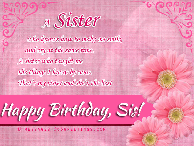 birthday wishes for sister, that warm the heart  messages, Birthday card