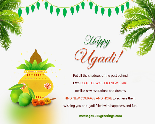 Ugadi wishes sms messages and ugadi greetings 365greetings this ugadi im wishing you a life filled with peace cheer and laughter i pray that you gain might and strength to accept lifes ups and downs m4hsunfo