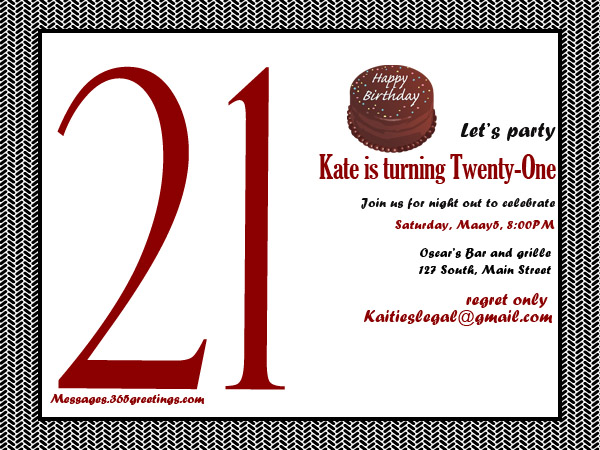 21st Birthday Invitation Cards