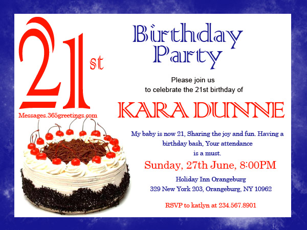21st Birthday Invitation Greetings