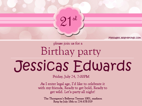21st birthday invitations 365greetings 21st birthday invitation wording ideas stopboris Choice Image