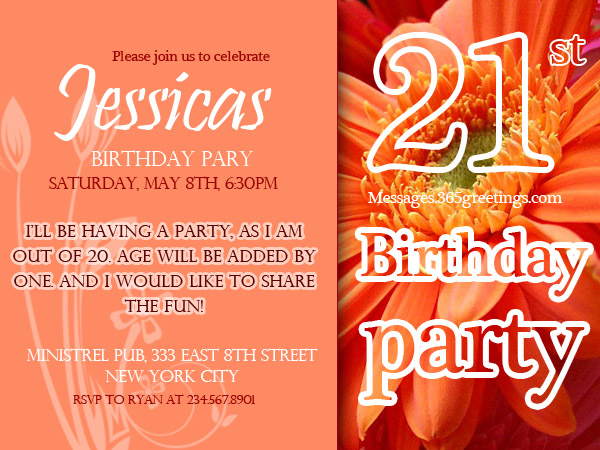 21st birthday invitations 365greetings 21st birthday invitation wordings stopboris Gallery