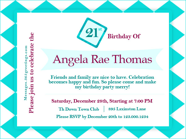 21st Birthday Invitations 365greetings – Birthday Party Invitation Words
