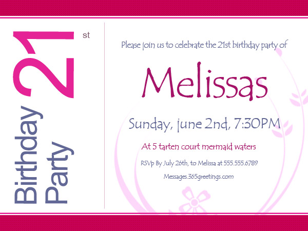 21st birthday invitations 365greetings com