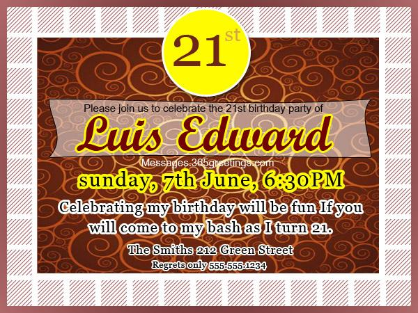 21st Birthday Invitations 365greetings – Birthday Invite Quotes