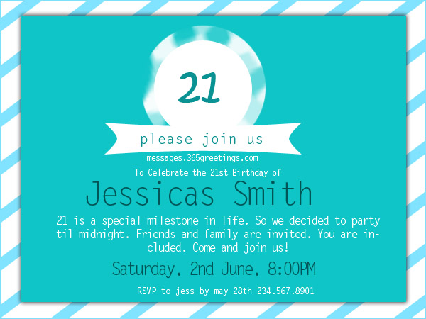 21st Birthday Invitations 365greetings – Party Invitation Message