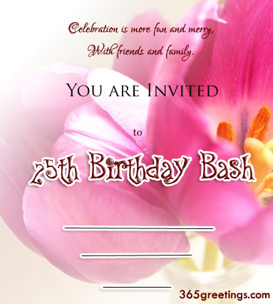 25th birthday invitation wording 365greetings birthdays bookmarktalkfo Gallery