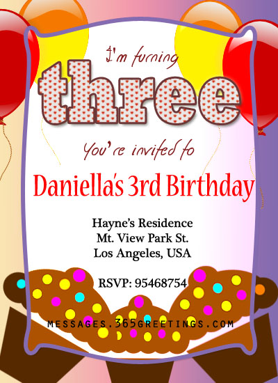 3rd birthday invitations 365greetings 3rd birthday invitation sample stopboris Choice Image