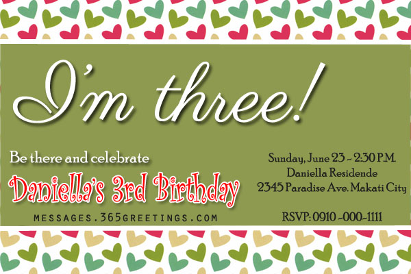 Kids 3rd Birthday Invitation Wording Template