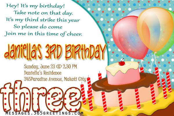 3rd Birthday Invitation wording 365greetings – Party Invitation Message