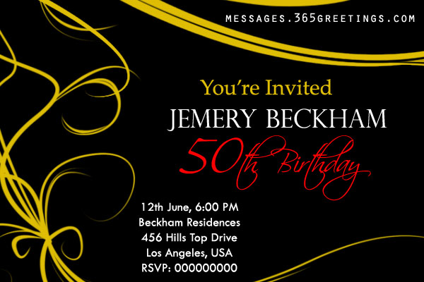 50th Birthday Party Invitation Sample 1