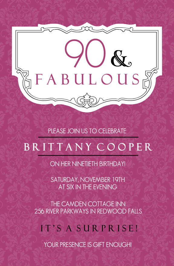 90th Birthday Invitations Wording  Birthday Invitation Samples