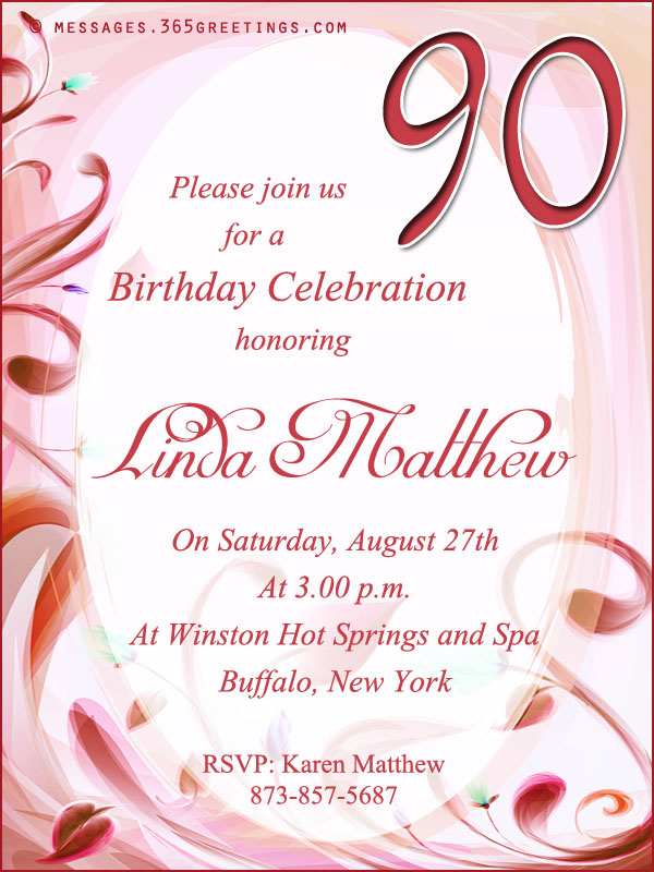 90th Birthday Invitation Wording 365greetings – Birthday Invitations Message
