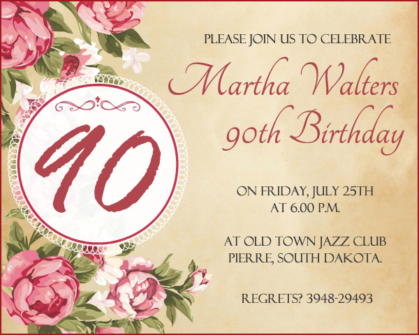 90th Birthday Invitation Wording