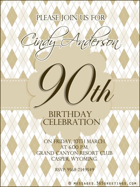 90th Birthday Invitation Wording - 365greetings.com