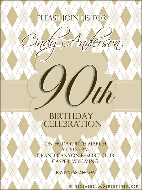 90thbirthdaypartyinvitationwording 365greetings – Birthday Party Invitation Words