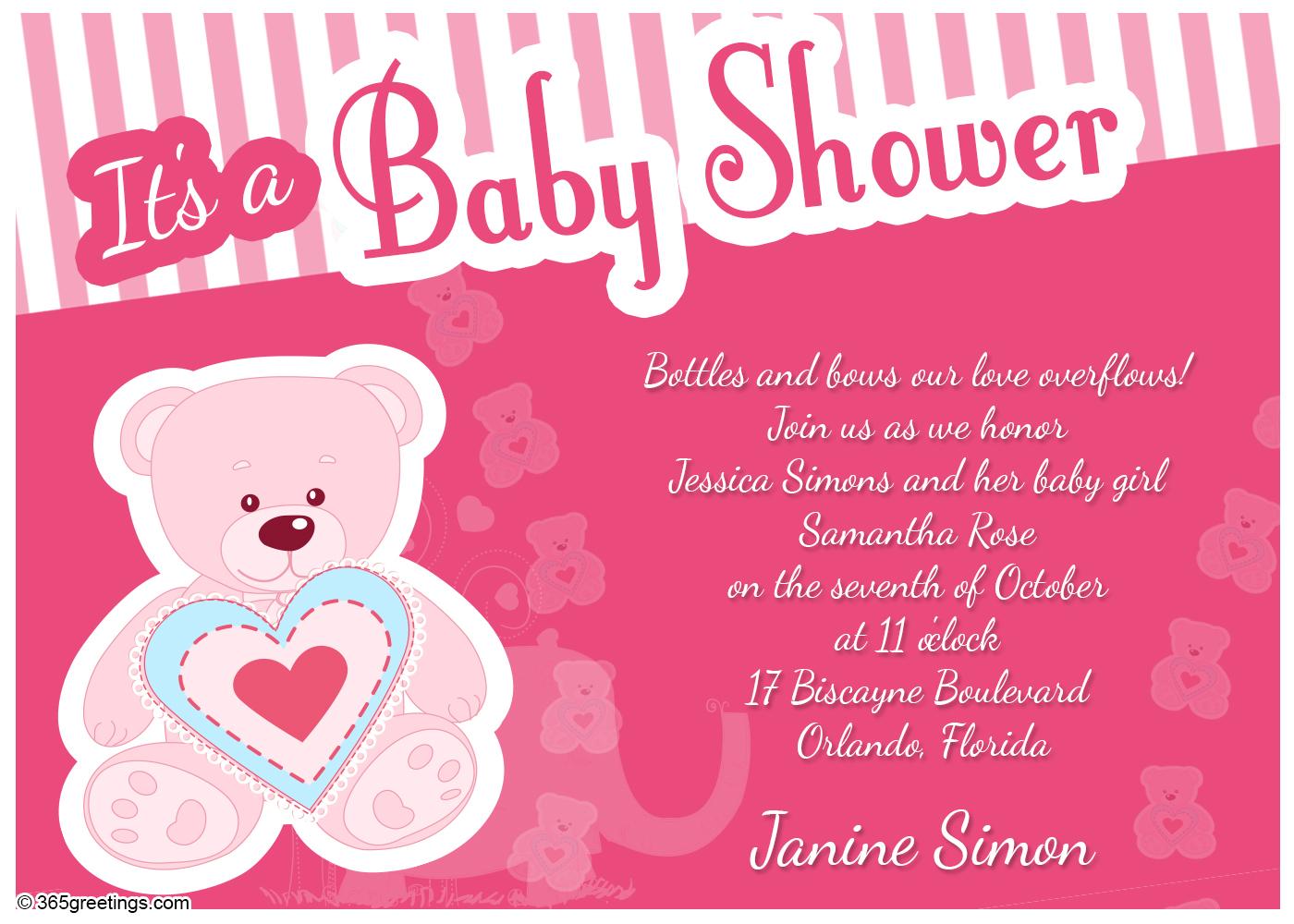 Baby Girl Shower Invitation Wording