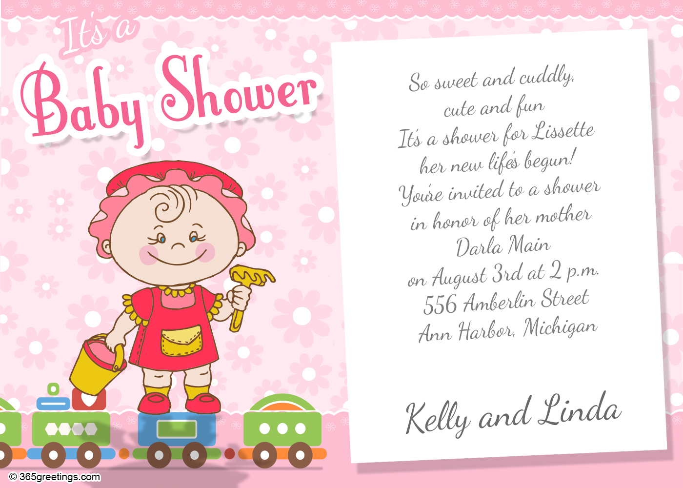 Baby Shower Invitation Wording For Girl 365greetings Com