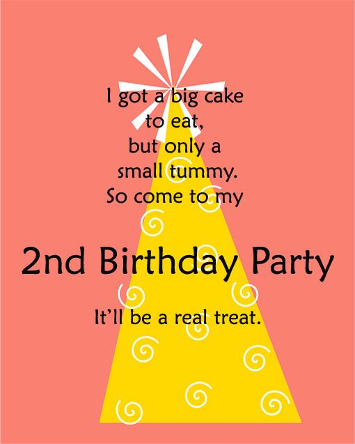2nd Birthday Invitations And Wording 365greetings – Birthday Invitations Message
