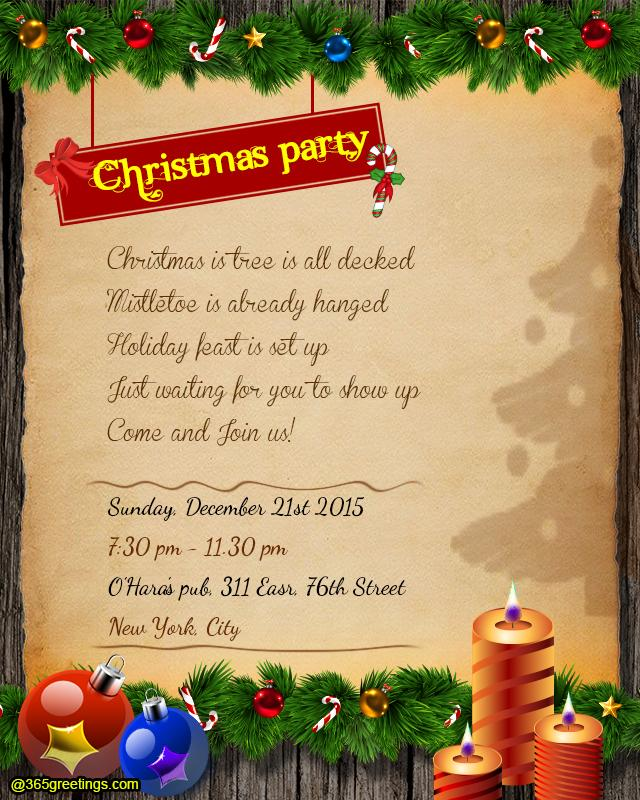 Christmas Party Invitation Wording - 365Greetings.Com