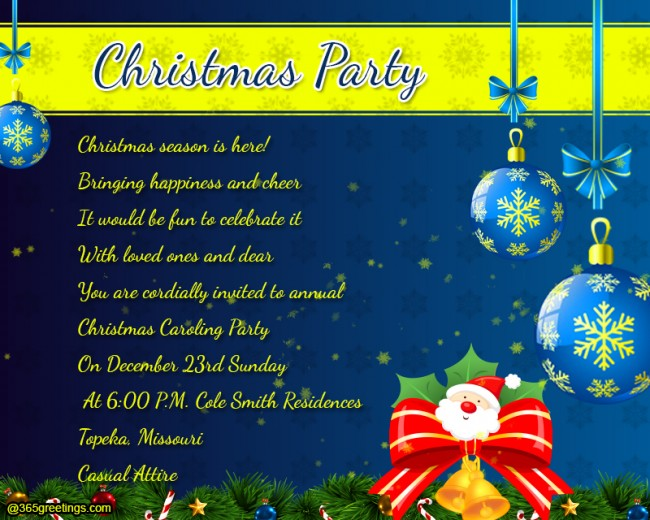 christmas party invitation wording. Black Bedroom Furniture Sets. Home Design Ideas