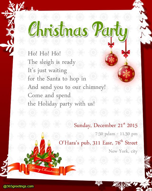 Christmas Party Invitation Wording 365greetings – Party Invitation Message
