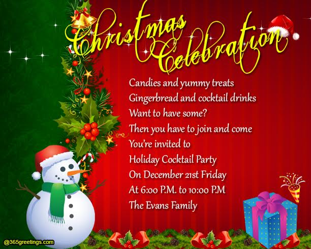 christmaspartyinvitationwording 365greetings – Invitation to a Christmas Party