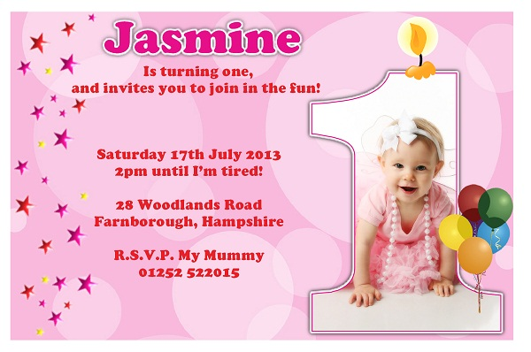 First birthday invitation 365greetings first birthday invitation pink stopboris Choice Image