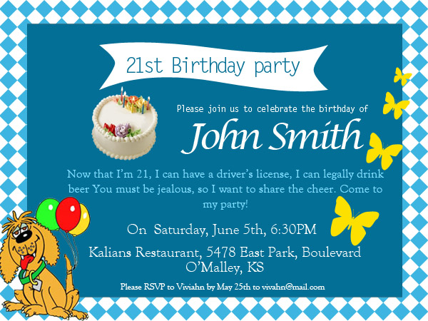 Funny 21st Birhday Invitations Wording  Birthday Invite Words