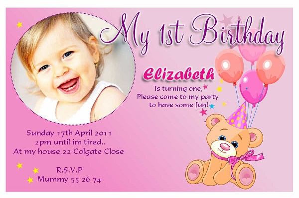 Birthday invitations 365greetings girl first birthday invitations stopboris Choice Image