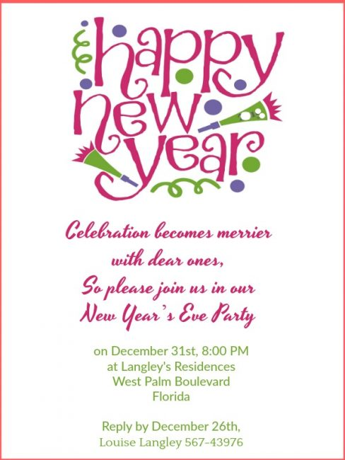 new year party invitation wording sample 4 celebration
