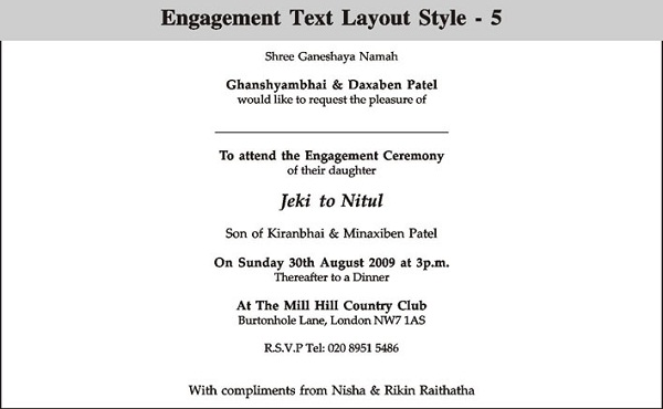 Nice Indian Engagement Invitation Wording To Engagement Invitation Matter
