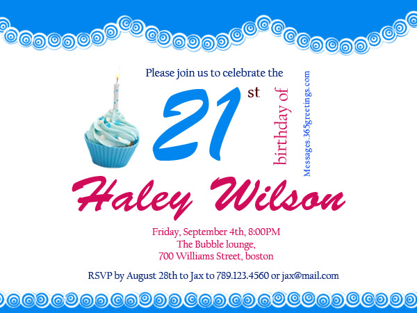 21st Birthday Invitations 365greetings – Birthday Party Invitations Messages