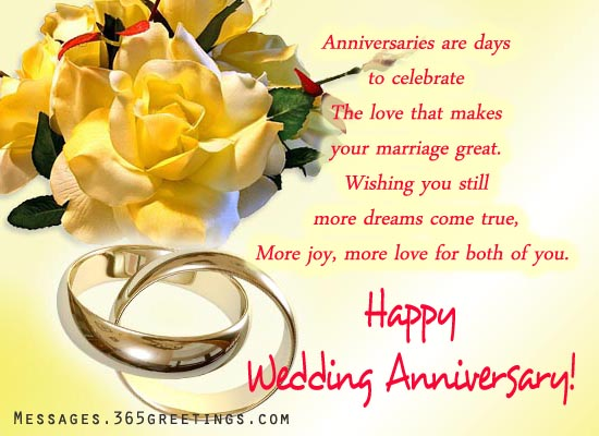 Wedding Anniversary Wishes And Messages 365greetingscom