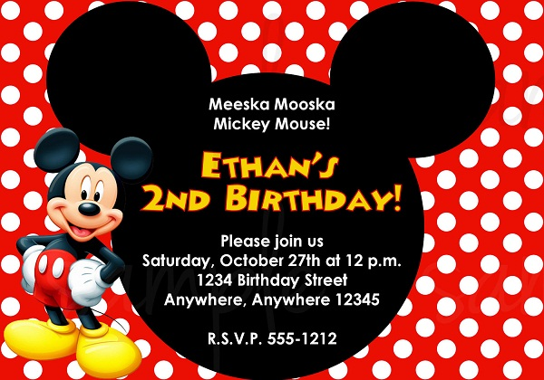 Mickey Mouse Birthday Invitation 365greetings Com