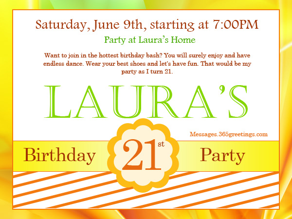 21st Birthday Invitations  Birthday Invite Words