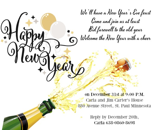new year eve party invitation wording sample