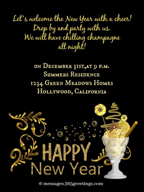 new year party invite wording ideas