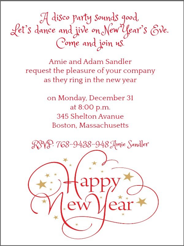 New Year Party Invite Wording Samples 365greetings