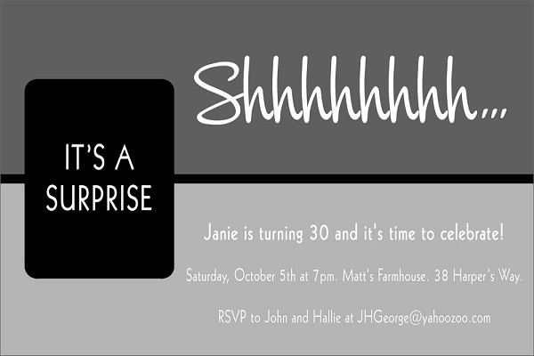 surprise birthday party invitation 365greetings com