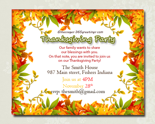 Thanksgiving Invitations 365greetings – Thanksgiving Party Invitation Wording