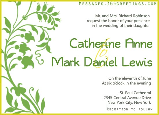 Wording Of Wedding Invitations: Wedding Invitation Wording