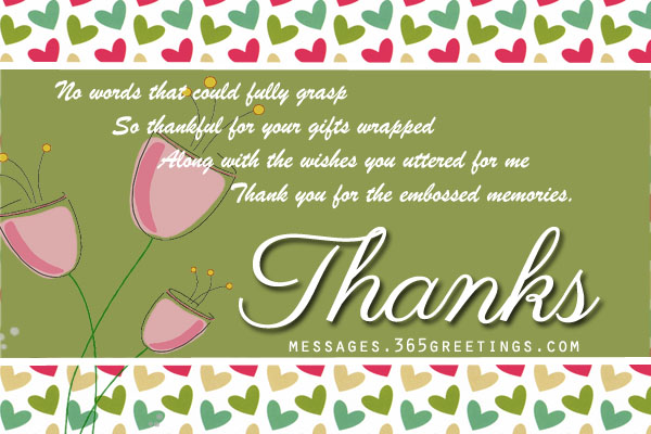 Thank You Notes For Birthday Gifts Party