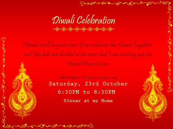 INVITATION FORMAT FOR DIWALI PARTY | Invite