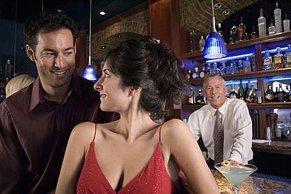 wife flirting at bar