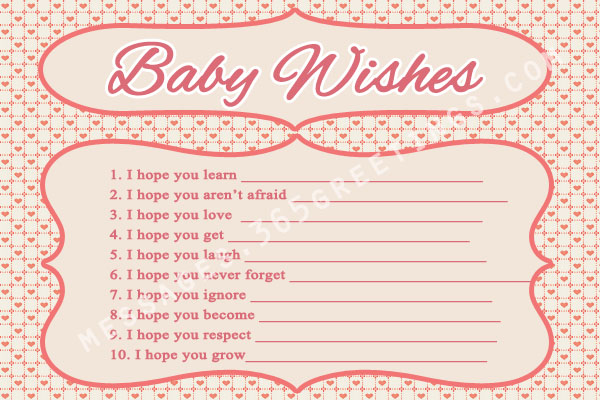 Fun and free baby shower games for Wishes for baby printable template